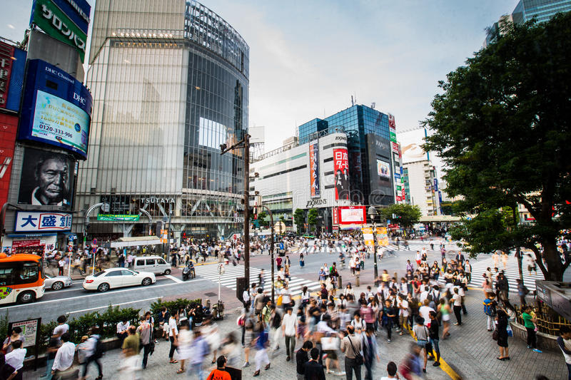 Tokyo, Japan - May 28: Pedestrians cross at Shibuya Crossing on stock photo