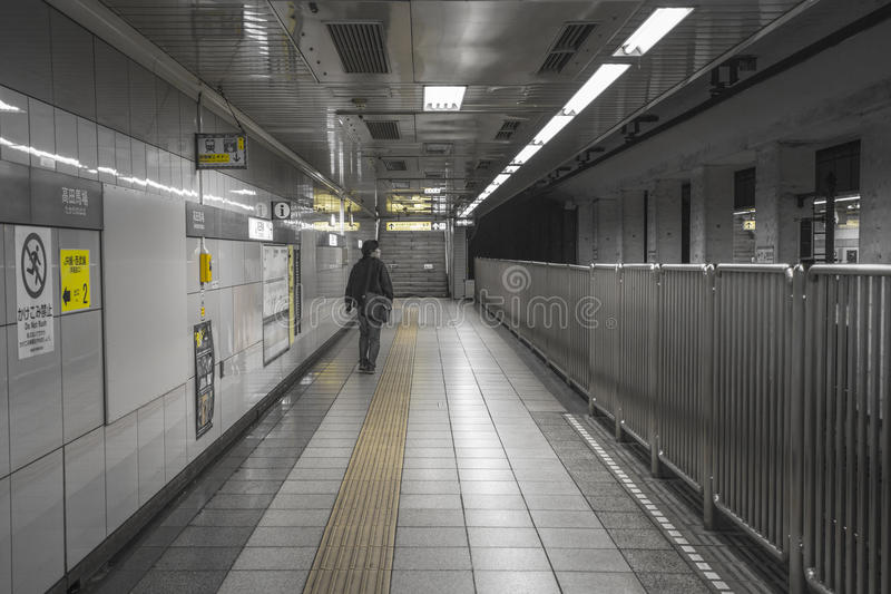 TOKYO, JAPAN - MAY 30, 2016 : Tokyo Metro subway. People walk and wait. Tokyo Metro subway is a popular mode of transportation in Tokyo for people to commute stock photography