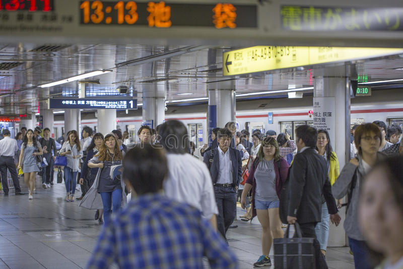TOKYO, JAPAN - MAY 31 2016 : Tokyo Metro. Subway in rush hours. Tokyo Metro subway is a popular mode of transportation in Tokyo for people to commute stock image