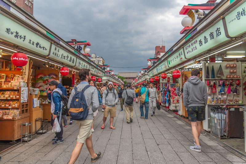 TOKYO, JAPAN - May 1, 2017 : Tourist and souvenir shop at Sensoji temple in Tokyo, buddhist temples located in Asakusa Tokyo Japan.  royalty free stock images