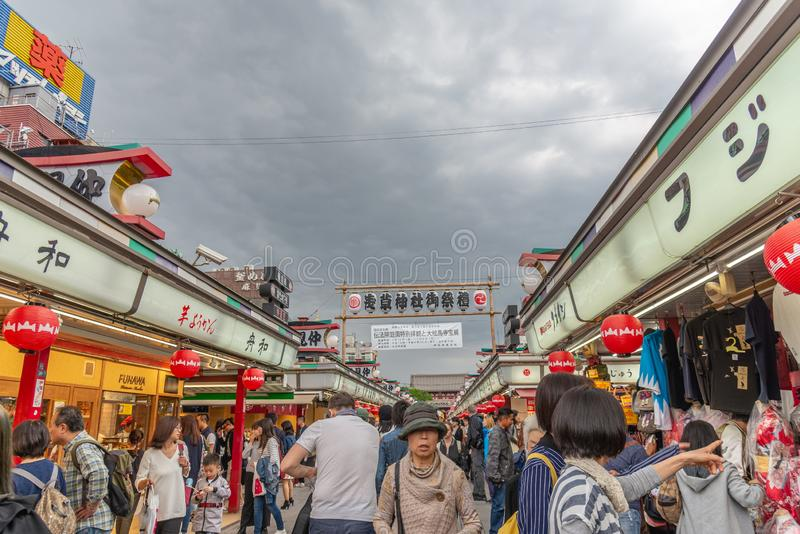 TOKYO, JAPAN - May 1, 2017 : Tourist and souvenir shop at Sensoji temple in Tokyo, buddhist temples located in Asakusa Tokyo. Japan royalty free stock images