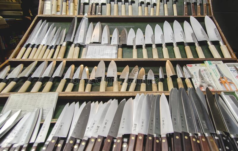 A traditional japanese kitchen knives with name of manufactor for sale at Tsukiji market royalty free stock photo