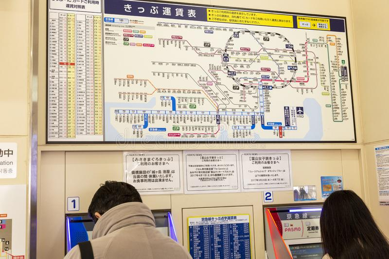 Tokyo, Japan, 04/04/2017: Metro map in an Asian metropolis on the wall. Horizontal stock photography