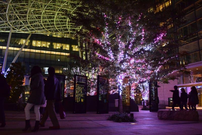TOKYO, JAPAN 2014: mooie Verlichting van geleid lichtendecorum royalty-vrije stock afbeeldingen