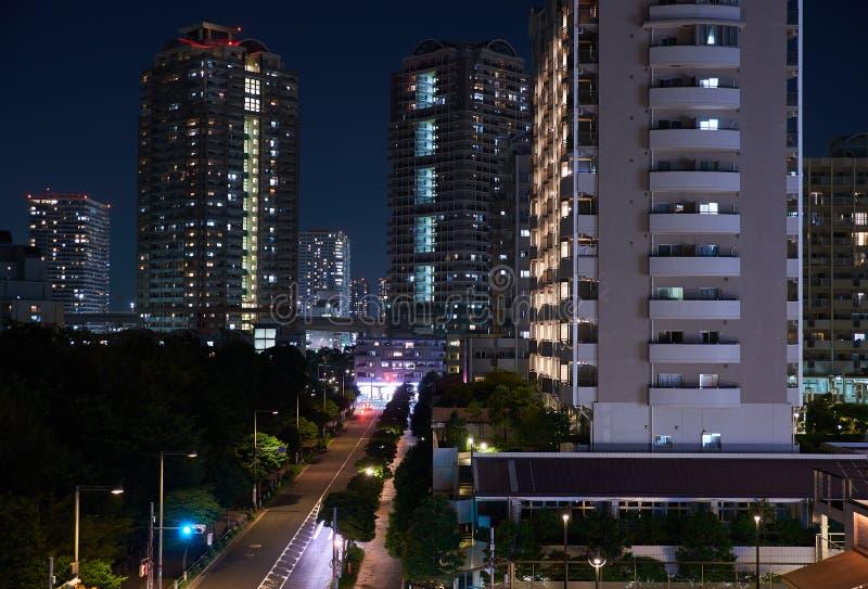 Tokyo, Japan 08.29.2017: nignt city view at the Rainbow Bridge on Odaiba island royalty free stock images
