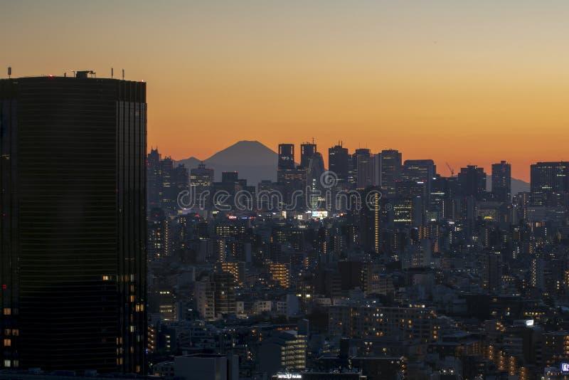 View of tokyo sky twilight MT.fuji sunset royalty free stock image