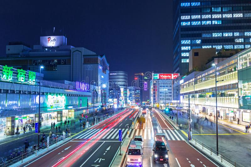 Cityscape of Shinjuku district with traffic lights on the street of Tokyo stock photos