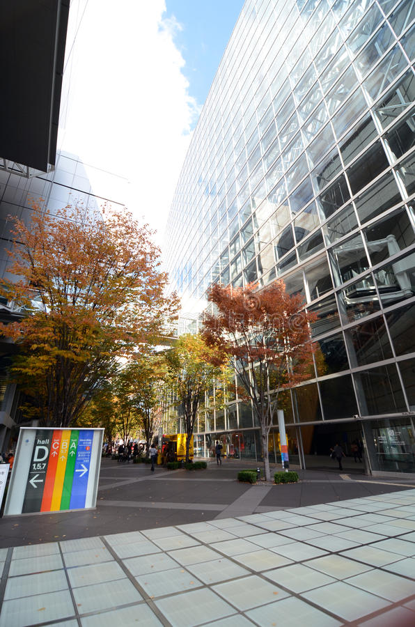 Tokyo, Japan - November 26, 2013: Exterior of Tokyo International Forum. On November 26 2013 in Tokyo Japan. the Forum is one of Tokyo's architectural marvels royalty free stock images