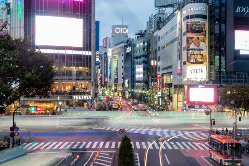 Tokyo Japan - November 08 2017: Fullsatt trafikstockning för rusningstid av det ljusa medlet på den Shibuya korsningen arkivbild