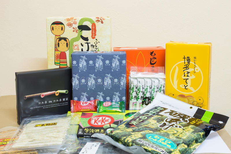TOKYO, JAPAN - NOVEMBER 21:Japanese souvenir and snacks in Asakusa, Tokyo and around city on Tokyo prefecture, Japan on NOVEMBER. 21,2014 stock images