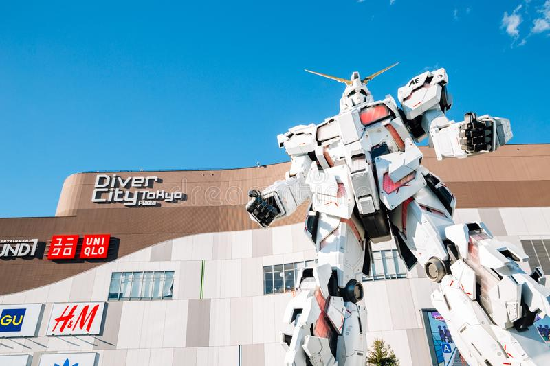 Odaiba Diver City Tokyo Plaza shopping mall and real-size Gundam robot in Tokyo, Japan stock images