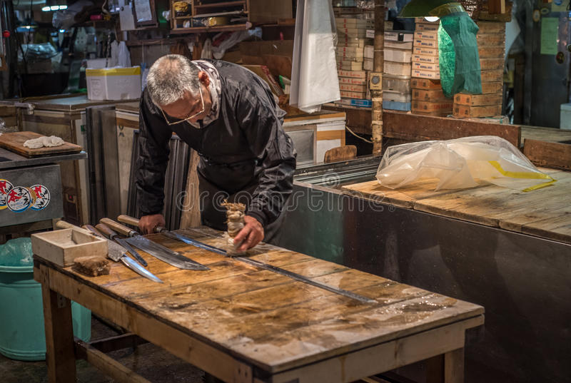 TOKYO, JAPAN - November, 22, 2014: Old japanese man with traditi stock photography