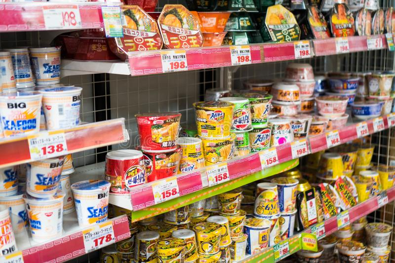 Tokyo, Japan - October 5, 2018: big discounts of Japanese instant noodles inside Don Quijote royalty free stock images
