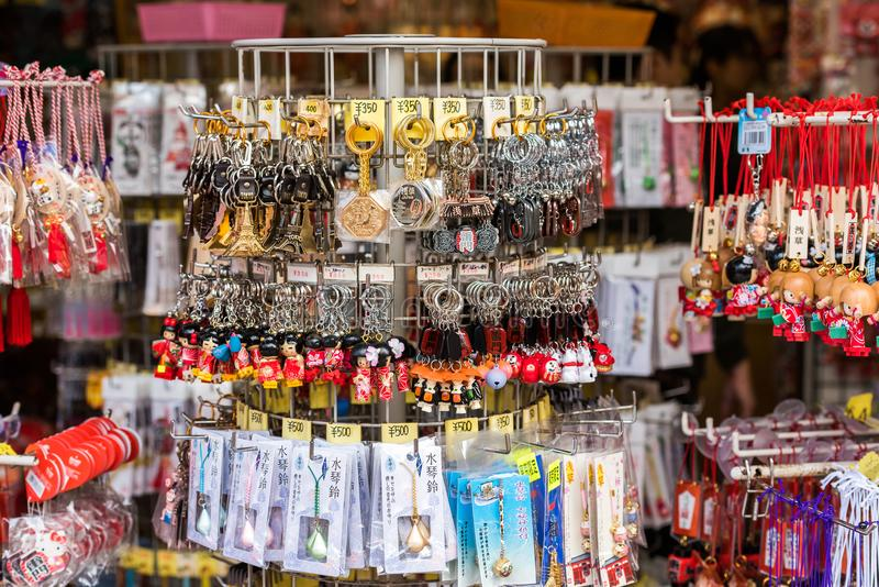 TOKYO, JAPAN - OCTOBER 31, 2017: Japanese souvenirs in the store. Close-up. royalty free stock image