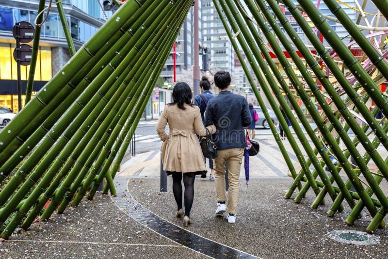 Tokyo, Japan, 04/08/2017 Prachtig verfraaide straat in Tokyo, lopende mensen royalty-vrije stock fotografie
