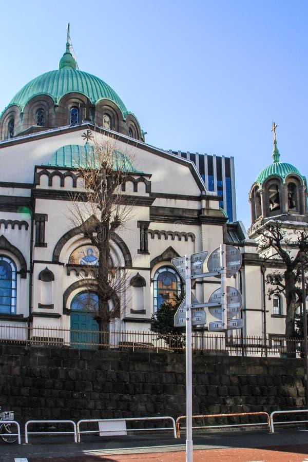 2013 01 07 Tokyo, Japan Religiös arkitektur av Japan Façade av kristendomenkyrkan i Tokyo royaltyfria bilder