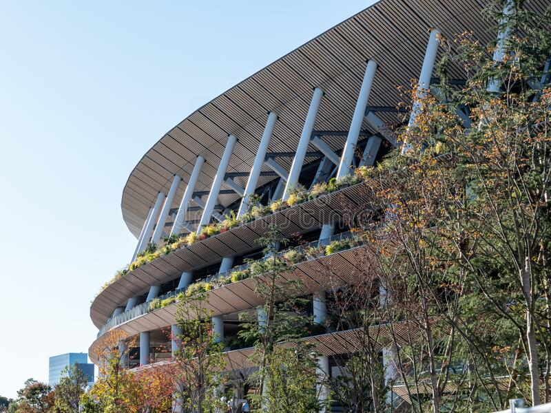 29 11 2019 - Tokyo, Japan: Japan`s new national stadium built in preparation for the 2020 Olympics.  stock photo