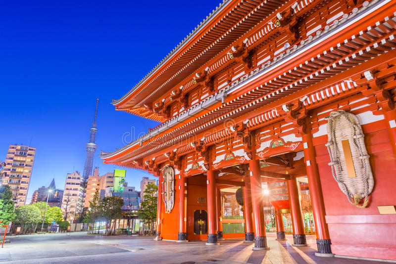 Tokyo Japan Temple. Sensoji Temple gate and Skytree Tower in Tokyo, Japan royalty free stock photography