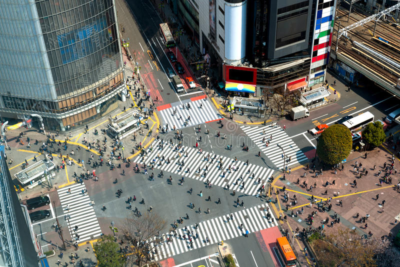 Tokyo, Japan view of Shibuya Crossing, one of the busiest crosswalks in Tokyo, Japan. royalty free stock images