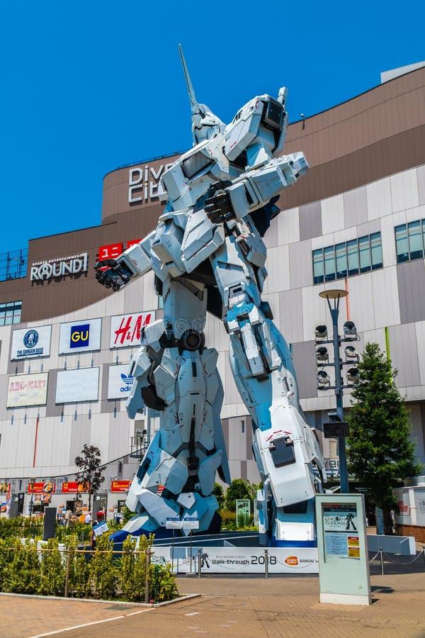 TOKYO JAPON - 1ER AOÛT 2018 : Beau géant Unicorn Gundam Model image stock