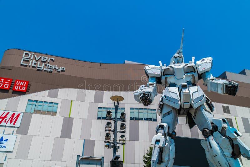 TOKYO JAPON - 1ER AOÛT 2018 : Beau géant Unicorn Gundam Model photographie stock libre de droits