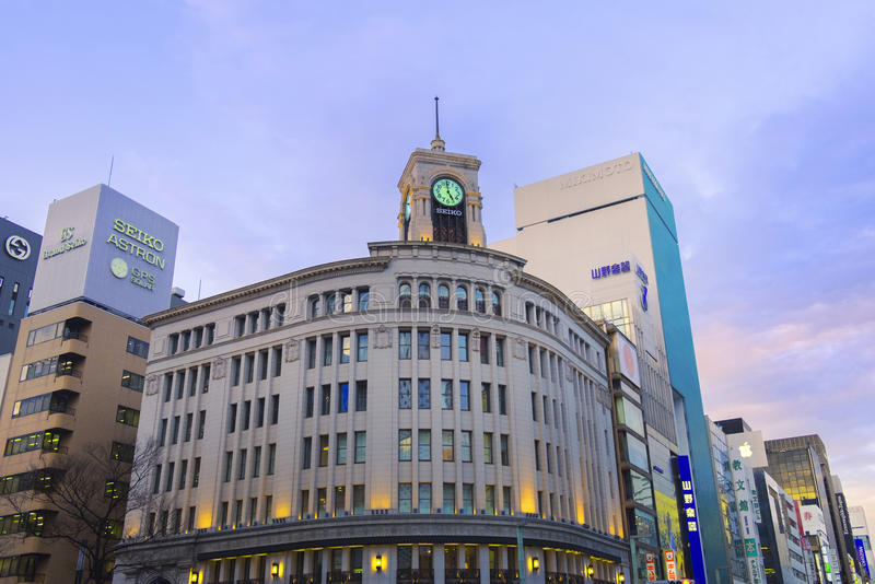 TOKYO, JAPON - MARS 2,2017 : Ginza Seiko Clock Tower, Ginza DIS image libre de droits