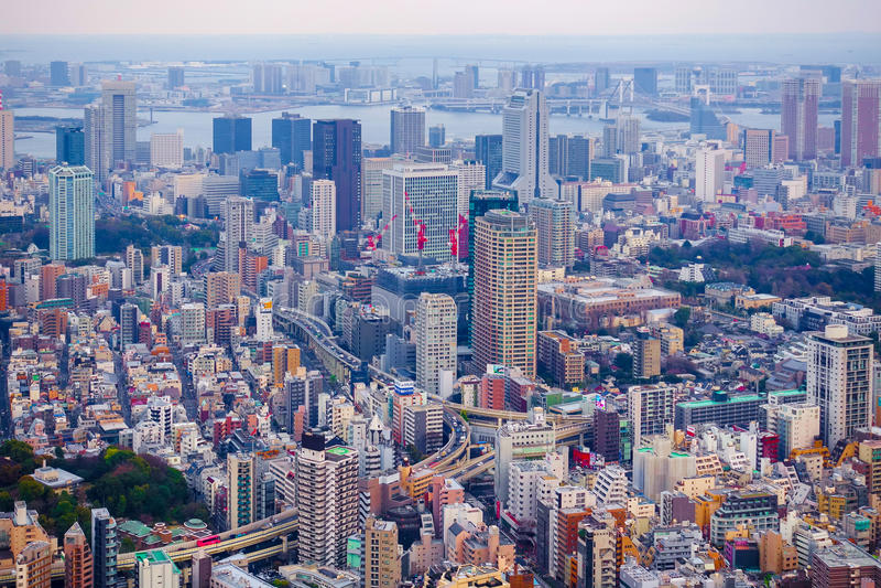 Tokyo, Japon 29 mars 2016 : Vue aérienne d'horizon de Tokyo avec les ponts en route images libres de droits