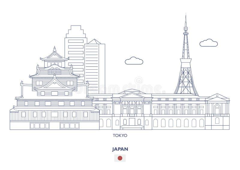 Tokyo linjär stadshorisont, Japan royaltyfri illustrationer