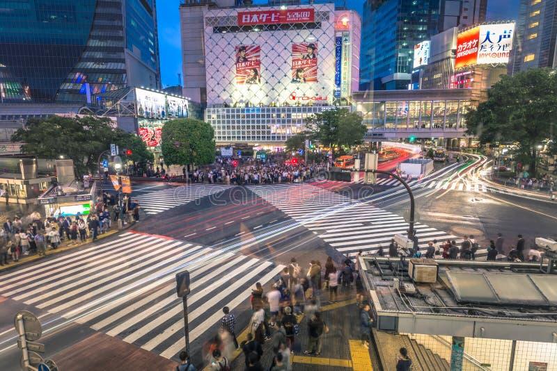 Tokyo - 21 maj 2019: Korsning i distriktet Shibuya i Tokyo, Japan arkivbild