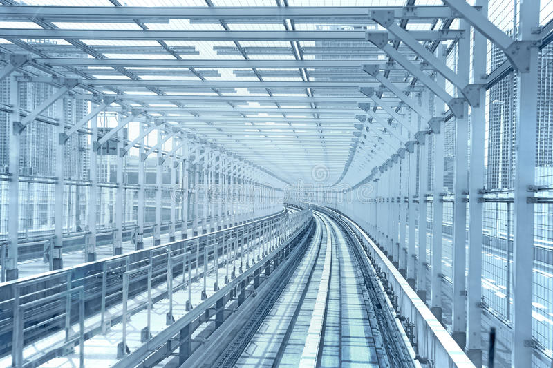 Tokyo Monorail Transportation Line Tunnel. Stock Photography