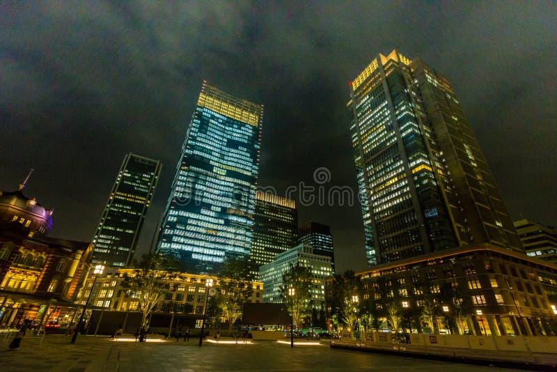 Tokyo nattcityscape royaltyfria foton