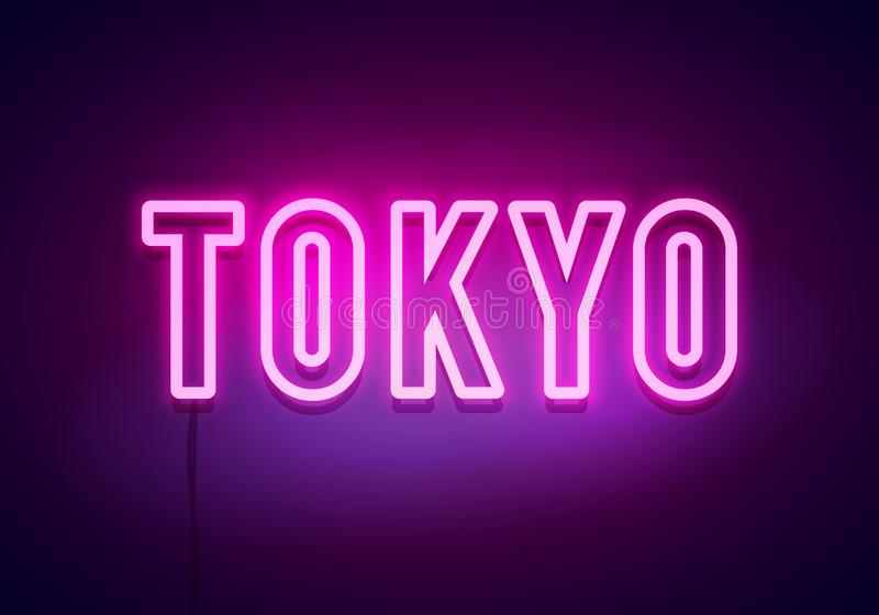Tokyo neon sign. Bright light signboard. Vector banner. royalty free illustration