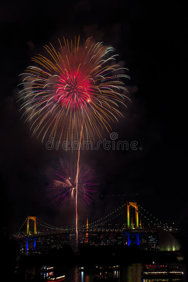 Tokyo, Odaiba bay firework festival over rainbow bridge royalty free stock images
