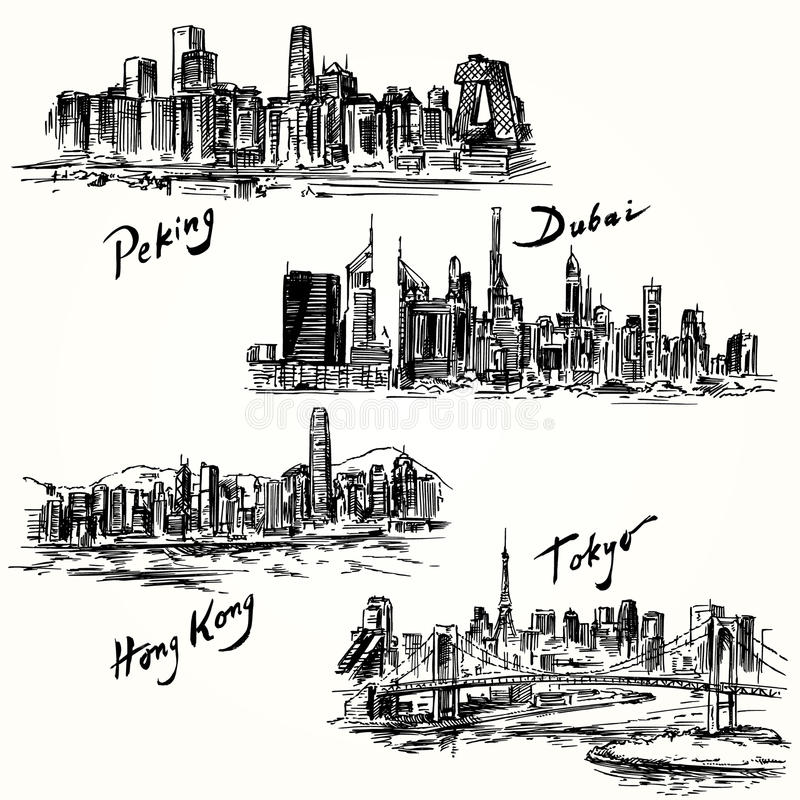 Tokyo, Pékin, Hong Kong, Dubaï illustration libre de droits