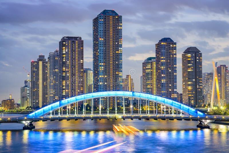Tokyo, paysage urbain du Japon Tsukishima images libres de droits