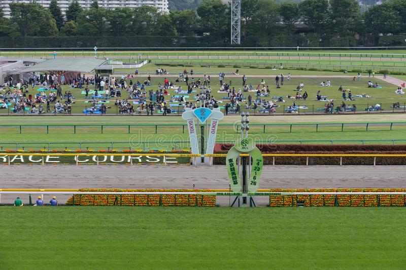Tokyo Racecourse in Japan. Tokyo Racecourse located in Fuchu city, was built in 1933, and is considered the racecourse of racecourses in Japanese horse racing royalty free stock images
