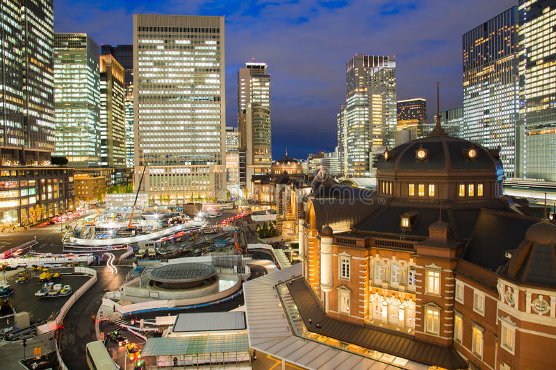 Tokyo railway station and Tokyo highrise downton royalty free stock photo