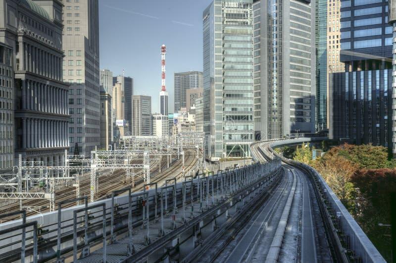 Tokyo railway tracks royalty free stock photo