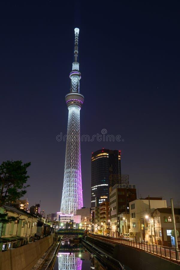Download Tokyo Sky Tree at dusk stock image. Image of lighting - 39508953