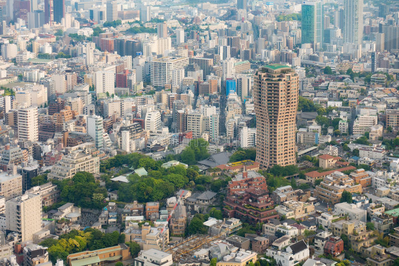 Tokyo Skycraper and High rise buildings aeiral shot. stock images