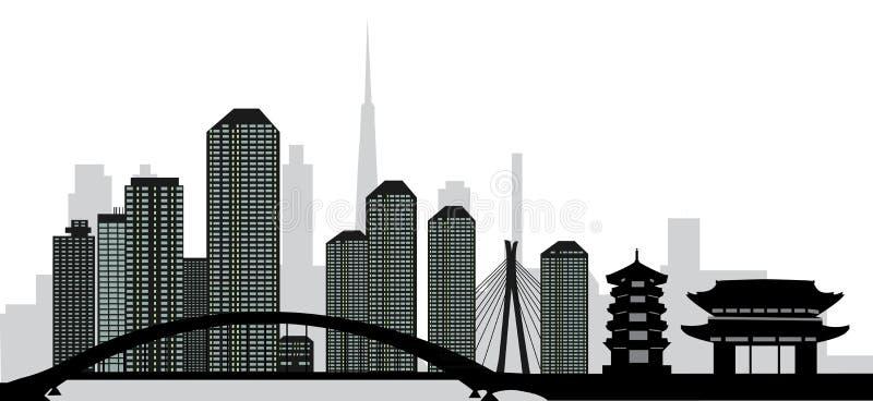 Tokyo skyline royalty free illustration