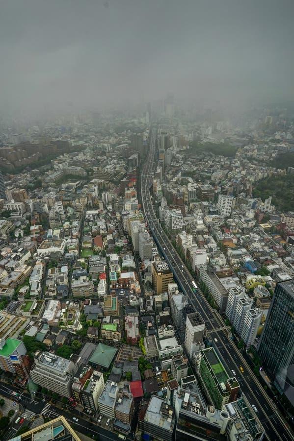 Tokyo-Skyline-Ansichtnebel bewölkt Nebel lizenzfreies stockfoto