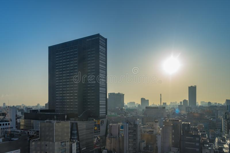Tokyo Skyline high rise buildings in the morning at Shinjuku are royalty free stock images