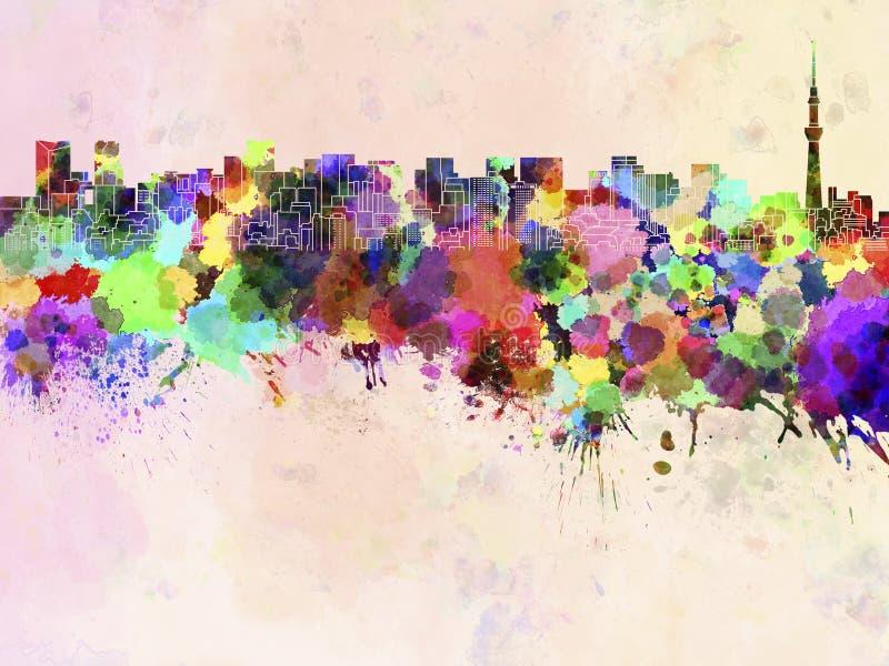 Tokyo-Skyline im Aquarell vektor abbildung