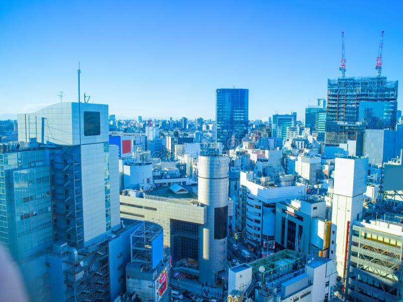 Tokyo-Skyline am schönen Tag stockfotografie