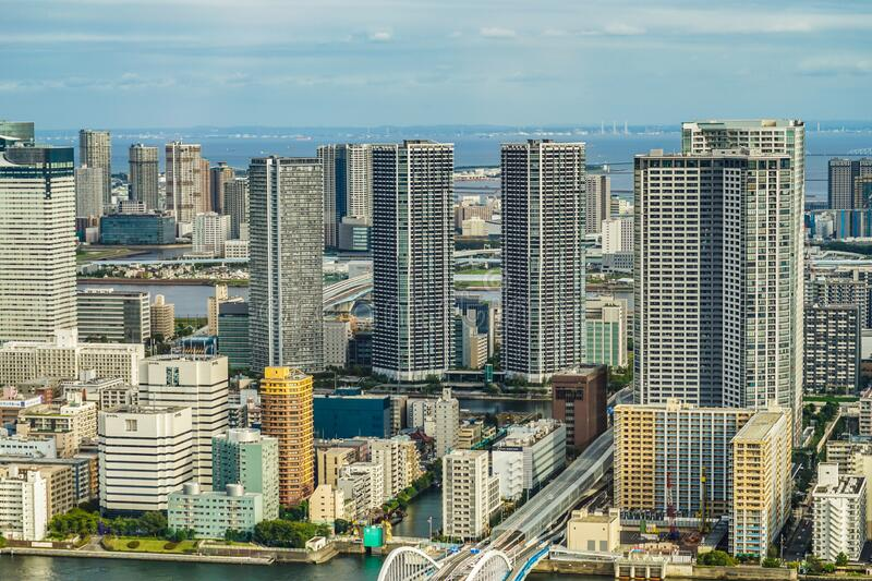 Tokyo skyline seen from the observation deck of the Caretta Shiodome. Shooting location :  Tokyo metropolitan area stock photo