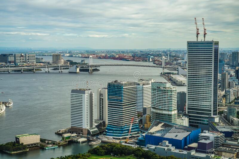 Tokyo skyline seen from the observation deck of the Caretta Shiodome. Shooting location :  Tokyo metropolitan area royalty free stock image