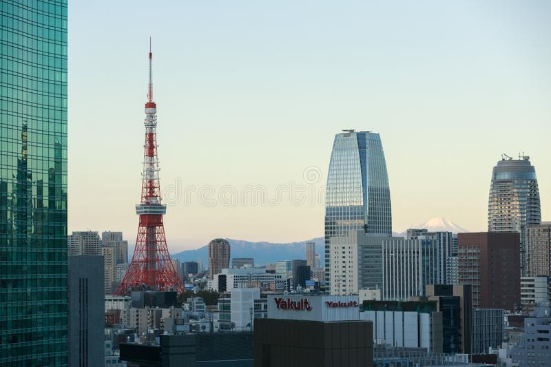 Tokyo Skyline with Tokyo Tower and Mt Fuji, Japan.  royalty free stock image