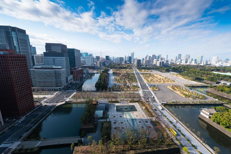 Tokyo Skyline view over the kokyogaien national garden royalty free stock images