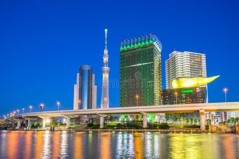 Tokyo skyline and view of Sumida river in Asakusa Tokyo, Japan stock photo